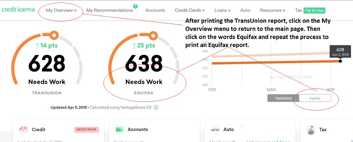 Return to the main page by click MyOverview in the menu, then print the Equifax report